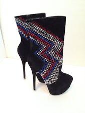 Womens Boots Size 5.5 6 Sexy Black Suede Biker Rhinestone Blue Red Silver Heels
