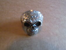 Crystals Bling Size 12 1/2 Men'S Spikes Stainless Skull Ring With