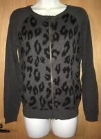 Apt.9 Womens Size Small Gray Leopard Print Zip Up Long Sleeve Sweater Top
