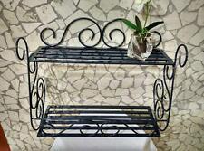 Mensola in ferro battuto fioriera doppia grigio ardesia