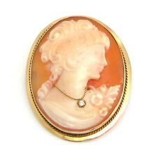 Vintage Italy 14k Yellow Gold Carved Cameo Habille Pin Brooch Pendant | FJ LO