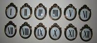 Antique French Raised Plaque Clock Dial Roman Numerals Complete Set