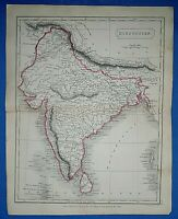 Antique 1829 Dr Butler's Atlas Map ~ INDIA - HINDOOSTAN ~ Authentic Sidney Hall