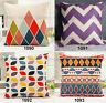 Kinds Retro Pillow Cover Composite Linen Cushion Case Colorful Geometry 42x42cm