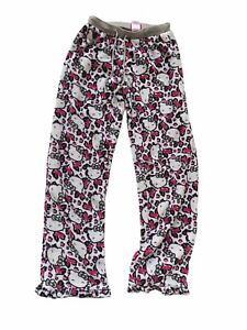 Hello Kitty Fleece Pajama Pants Drawstring Loungewear Plush PJs Women Small