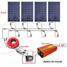 400W Solar System 4x 100W Solar Panel & 1KW Power Inverter 12V Charge Home RV