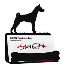 Swen Products Basenji Dog Black Metal Business Card Holder