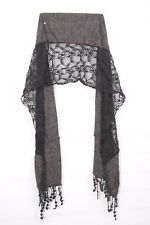 Graphite & black Partially Embellished Scarf W Crochet Flower Tassels (S206)