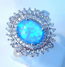 **NEW**STUNNING OVAL  BLUE FIRE OPAL/CZ  RING   UK SIZE  Q  /  US SIZE  8.5