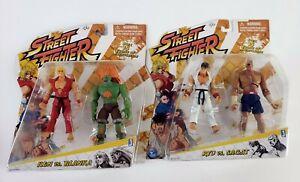 Jazwares Street Fighter Ryu Vs. Sagat and Ken vs Blanka Capcom figures NEW rare