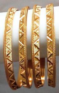 Slim 4 Pc Bollywood 24K Gold Plated Sleek Rope Indian Bridal Bangle Bracelet Set