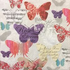20 paper napkins for Decoupageor  Collection Vintage Text Butterfly butterflies