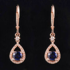 Natural Diamond Round Blue Sapphire Drop Earrings Solid 14K Rose Gold Jewelry