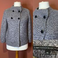 M&S Limited Collection Chunky Grey Knit Cardigan UK14 Wool/Alpaca Blend