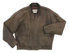 VINTAGE Leather BOMBER Jacket L Large Mens Brown A-2 Flight Jacket Motorcycle