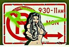 RD357 NY GRAFFITI LEGEND SPRAY TAGGED NYC URBAN ART NO PARKING SIGN SEXY WOMAN