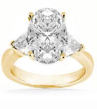 2 carat center OVAL shape DIAMOND Wedding 14K Yellow Gold Ring w 2 Trillion cut