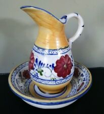 RARE Vintage Portuguese Small Studio Pottery Water Pitcher and Bowl