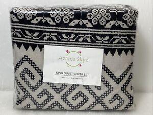 KING Azalea Skye Greca Borders Duvet Cover Set Beige Black White Greek