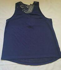 Ladies Crotchet Back Vest Top Navy Blue Size 16-18