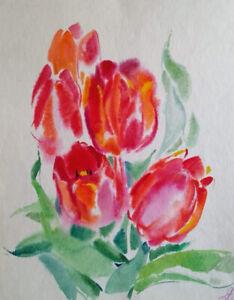 """Tulpen"" Aquarell auf Papier 35x31cm"