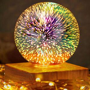 3D Firework LED Night Light USB Power Glass Ball Starry Sky Magic Bedroom Lamp