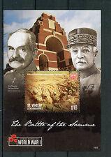 ST. Vincent & GRENADINES 2015 Gomma integra, non linguellato WWI battaglia della Somme 1v SS II PRIMA GUERRA MONDIALE FRANCOBOLLI