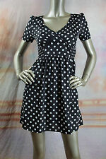 New MINK PINK Black White Polka Dot Gathered Pleated Ruched Mini Dress XS