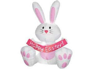 4 Ft Happy Easter Bunny Rabbit Inflatable Lights Airblown Yard Pink White Pink