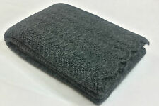 Woven Mohair Blanket Warm Throw Luxury Knitted Wrap Dark Grey 130 x 170 cm
