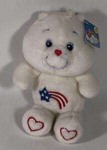 "NWT Care Bears America Cares Bear 20th anniversary Sm. Plush 10"" Red Feet VHTF"