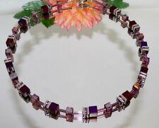 KETTE HÄMATIT Würfel matt purple Kristall irisierend facettiert Strass 064n