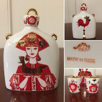 Vtg LOMONOSOV Russian USSR Ceramic Porcelain Gold-Gilt Decanter & Shot Cups Set