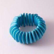 Teal Blue Wood Bead Beaded Boho Bohemian Chunky Stretch Bracelet