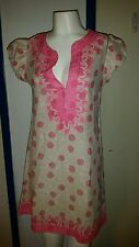Calypso St. Barths Boho Chic Bisset Rowena Dress  XS $175 Pink White Ro Coverup