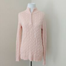 Tommy Bahama Womens Size Medium Pink Cable Knit 1/4 Zip Cashmere Blend Sweater