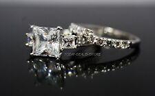 Three Stone Wedding Engagement Set  Princess Cut Real 14k White Gold 3.00 CTW