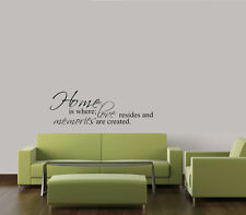 HOME IS WHERE LOVE RESIDES VINYL WALL DECAL LETTERING QUOTE HOME DECOR STICKER