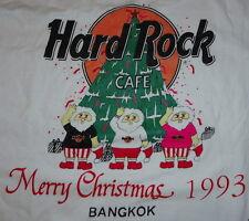"Hard Rock Cafe BANGKOK 1993 CHRISTMAS White Tee T-SHIRT Medium 20"" x 18"" -""LASA"""
