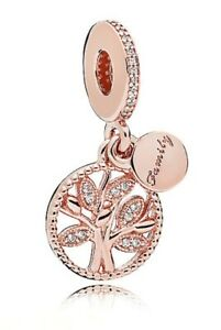 Authentic Pandora 781728 Rose Gold Family Heritage Dangle Charm