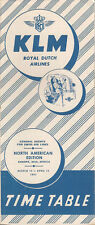 KLM Royal Dutch Airlines North American timetable 3/15/51 [5072] Buy 4+ save 25%
