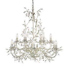 Searchlight Almandite 12 Lights Cream Gold Crystal Ceiling Fitting Chandelier