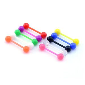PTFE Bioflex Bioplast Coloured Flexible Tongue Bar Screw on Balls