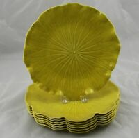 "7 MCM Chartruese Yellow Pottery Lotus Leaf Dinner Plates 10-3/4"" Excellent"