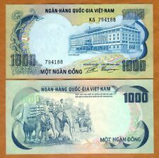 South Vietnam, 1000 Dong, Nd (1972) P-34, Unc > Elephants
