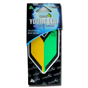 Treefrog Wakaba Young Leaf Black Squash JDM hanging cardboard Air Freshener