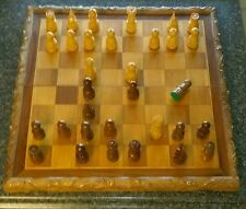 ~Hand-carved Wood Chess/Checkers Board~
