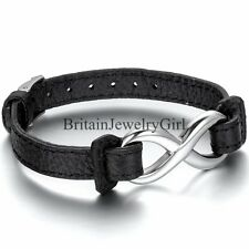 Charm Stainless Steel Infinity Friendship Bracelet Leather Bangle Cuff Unisex