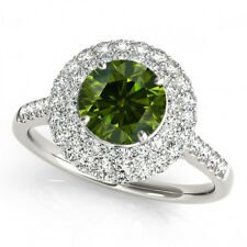 1 Ct Green And White Diamond Ring Best Price on Ebay 14k White Gold Gorgeous