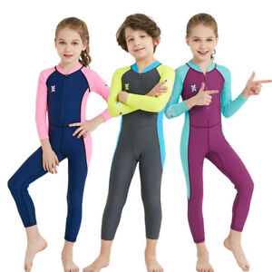 DIVE&SAIL Full Wetsuit Kids UPF50+ Long Sleeve Rash Guards Boys Swimwear Girls
